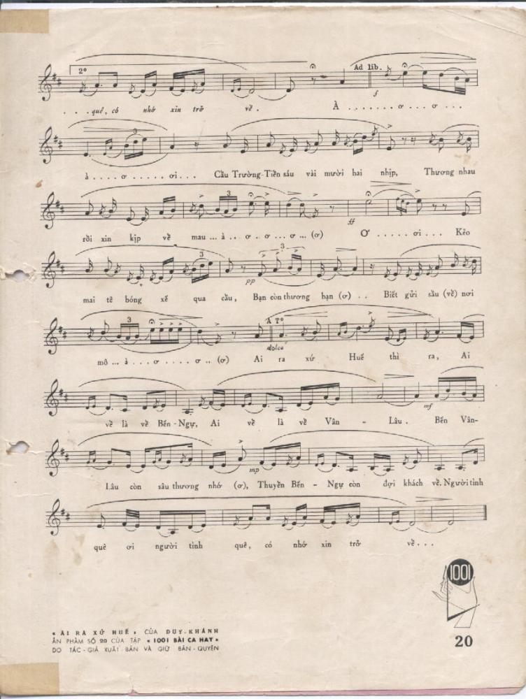 Sheet nhạc bài Ai ra xứ Huế